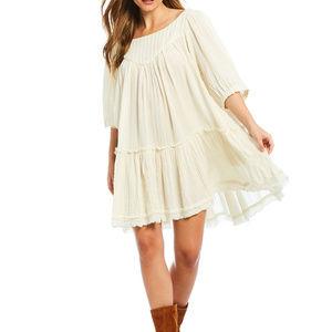 Free People Mystery Land Tunic L White Mini Dress